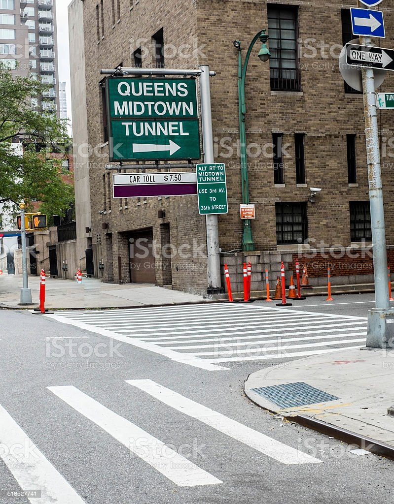 Queens Midtown Tunnel Sign stock photo
