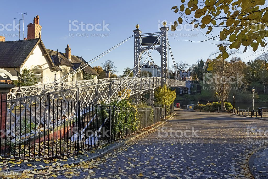 Queens Park Suspension Bridge, Chester royalty-free stock photo
