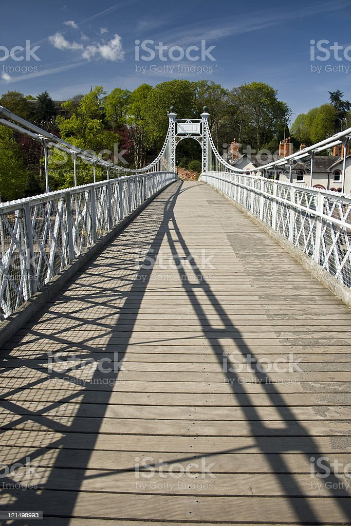 Queens Park Suspension Bridge over the River Dee in Chester royalty-free stock photo