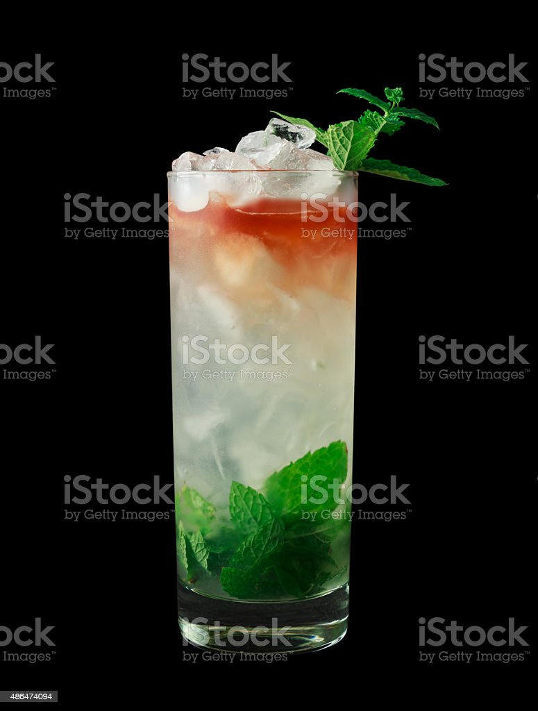 Queens Park Swizzle cocktail on black background stock photo