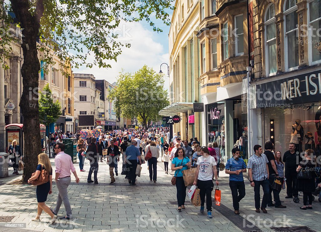 Queens Street in Cardiff busy with shoppers stock photo
