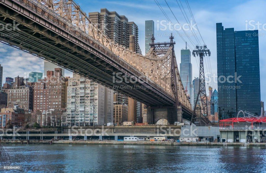 Queensboro Bridge and Rossevelt Island Tramway, NYC stock photo
