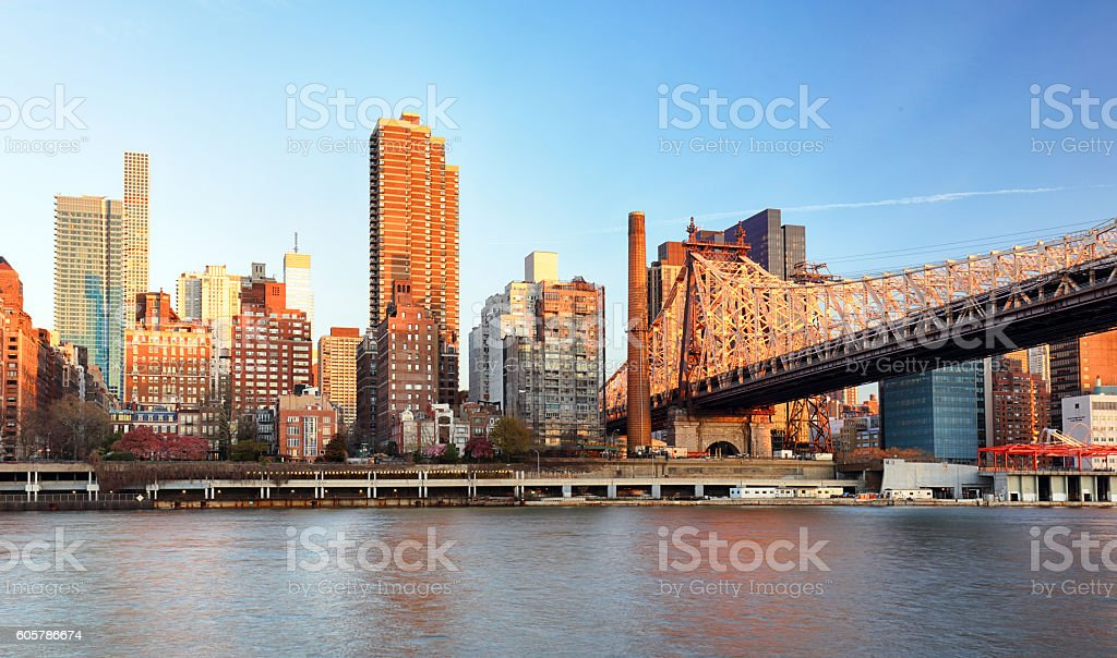Queensboro Bridge from Manhattan. 59th Street Bridge. stock photo
