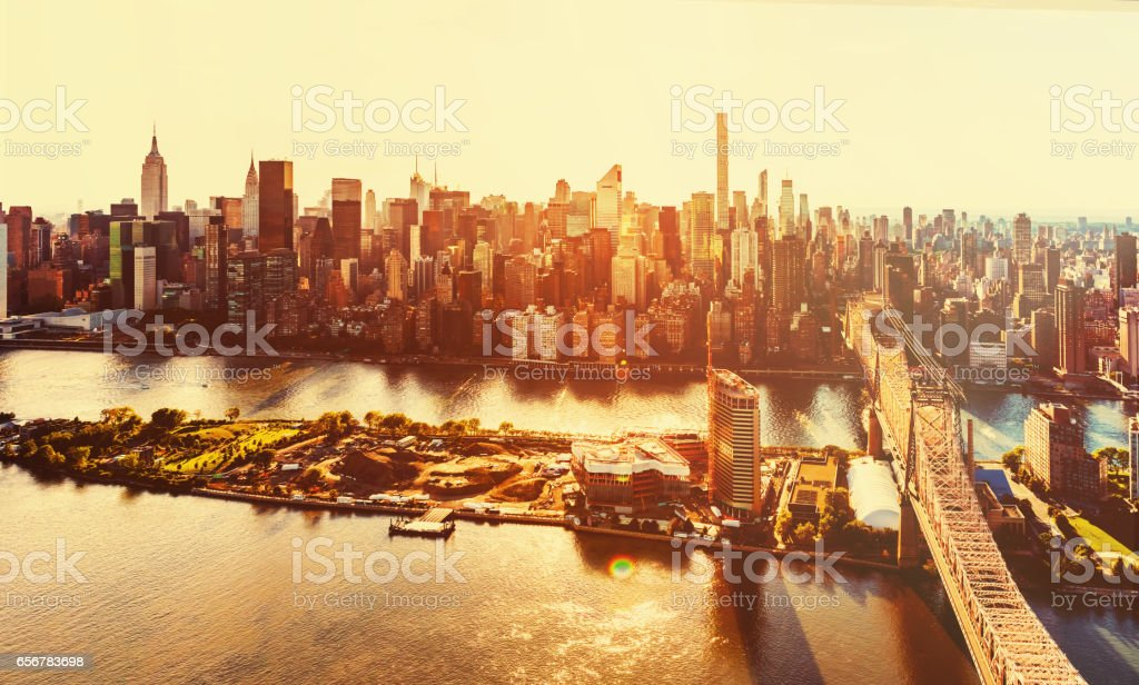 Queensboro Bridge over the East River in New York City stock photo