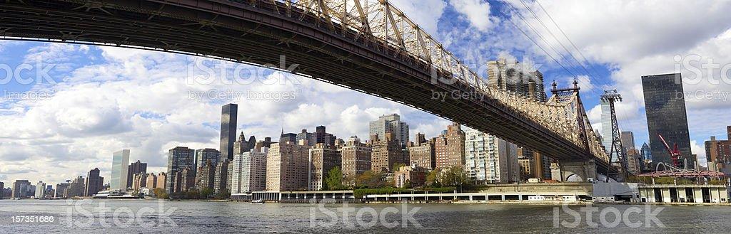 NYC Queensboro Bridge panorama stock photo