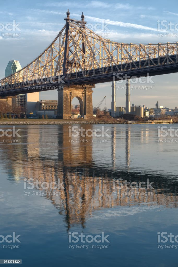 Queensborough Bridge between Roosevelt Island and Long Island City in Queens, NYC stock photo