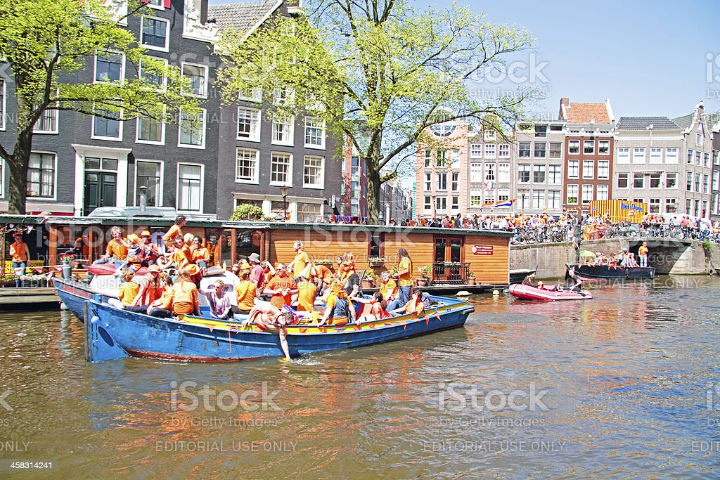 Queensday celebration in Amsterdam the Netherlands stock photo