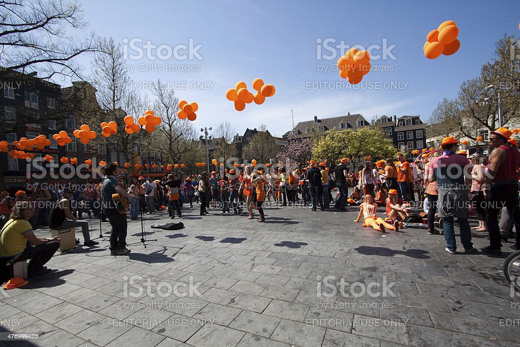 Queensday in Amsterdam stock photo