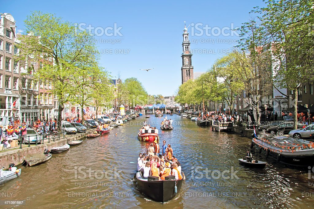 Queensday in Amsterdam the Netherlands on 30th april 2012. stock photo