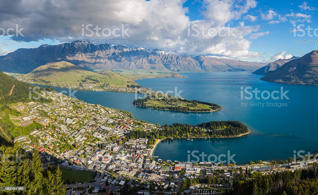 Queenstown aerial view from Gondola Skyline stock photo