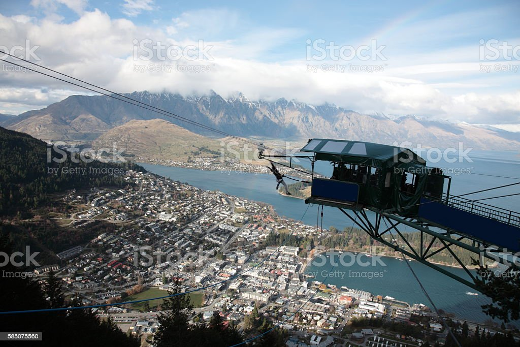 Queenstown and Lake Wakatipu with Bungee jumping,New Zealand stock photo