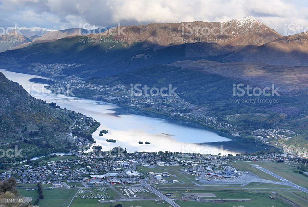 Queenstown district from the Remarkables stock photo