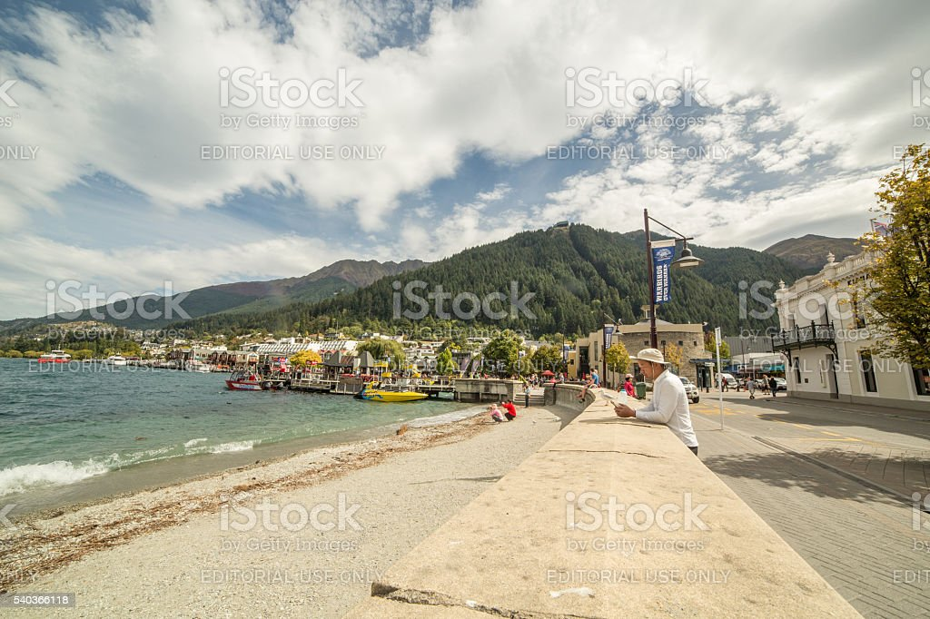 Queenstown, New Zealand: Lake Wakatipu landscape from Queenstown shore stock photo