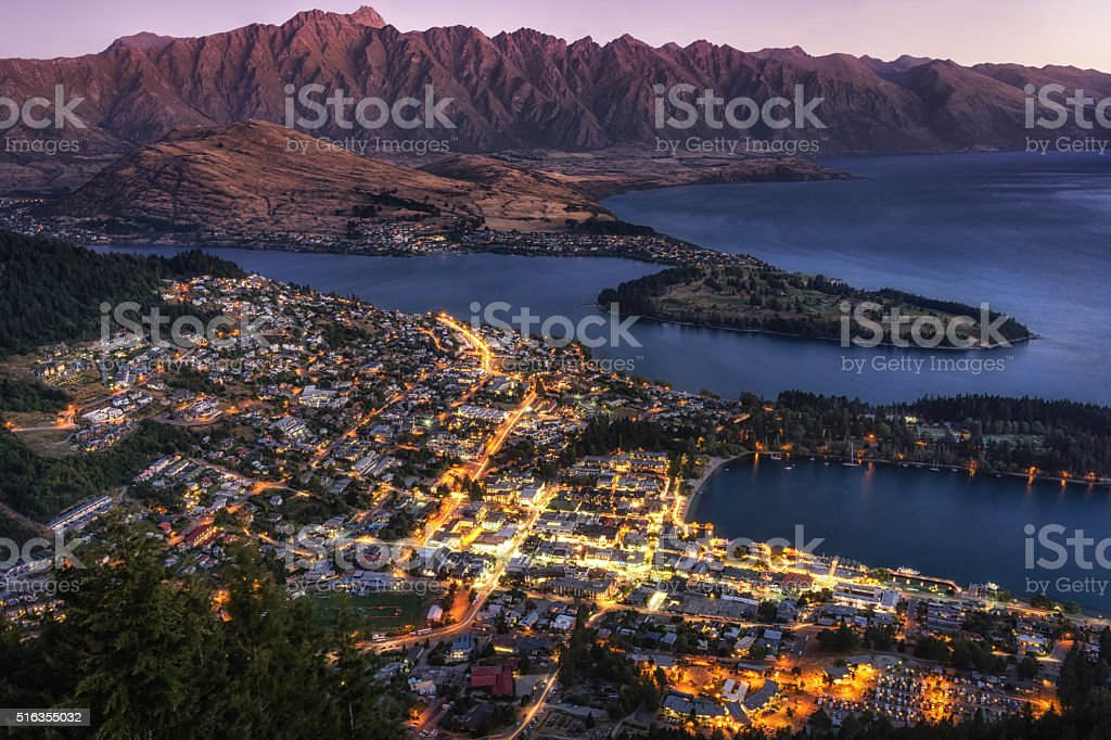 queenstown sunset from viewpoint stock photo