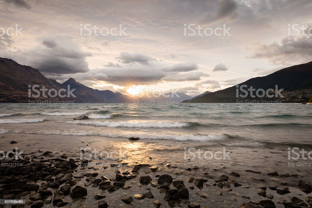 Queenstown sunset, New Zealand stock photo