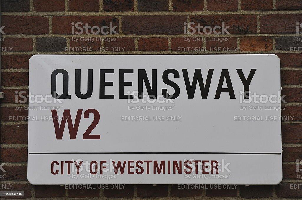 Queensway sign stock photo