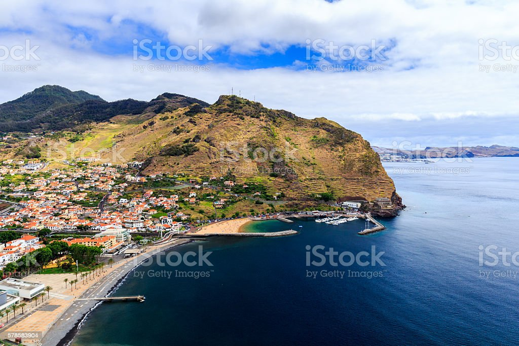 Queimada or Francicso Alvares Nobrega Viewpoint to Machico bay stock photo
