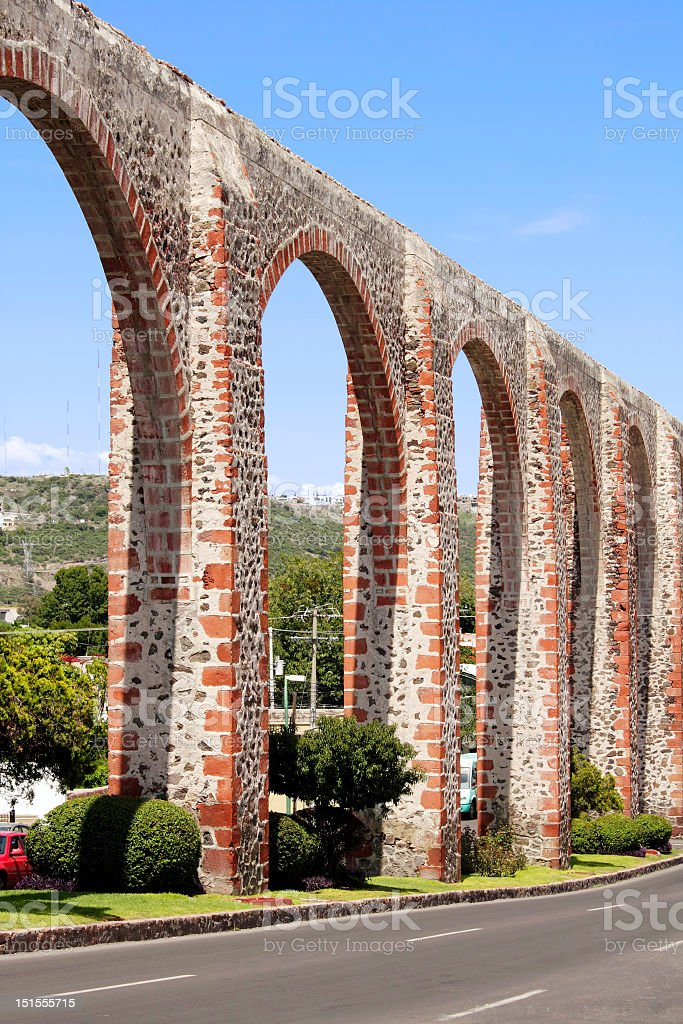 Queretaro's Los Arcos Aqueduct stock photo