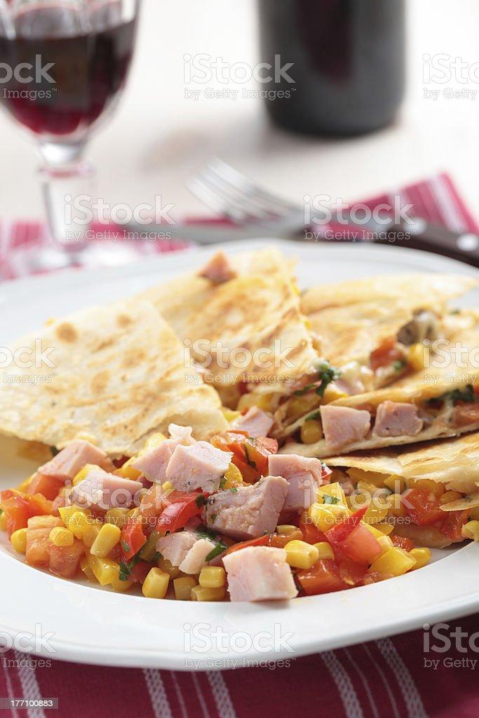 Quesadilla with ham royalty-free stock photo