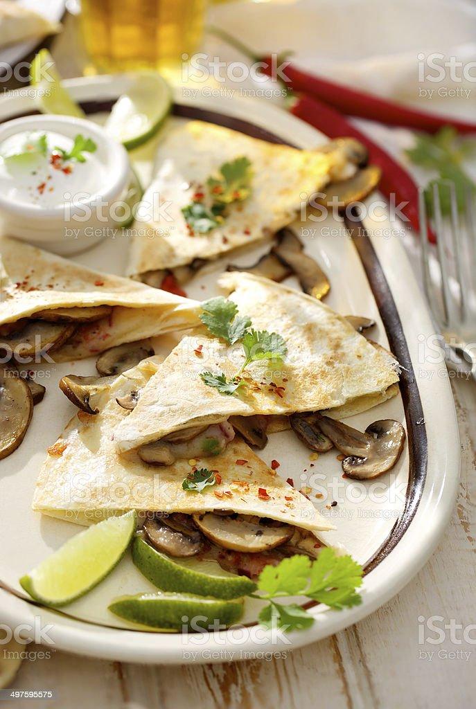 Quesadilla with musrooms stock photo