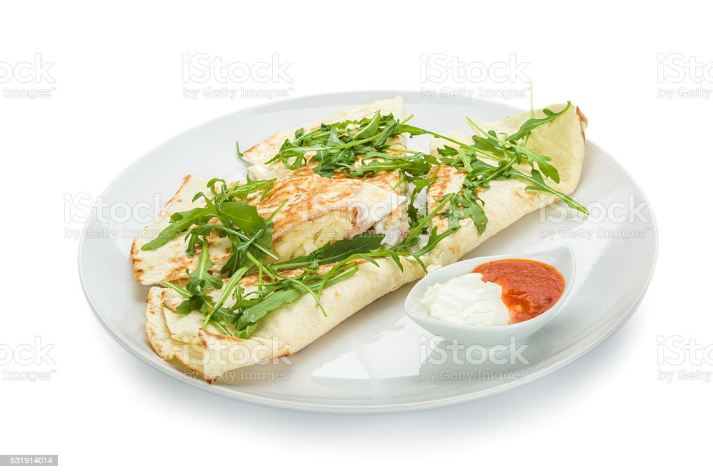 quesadillas on plate stock photo