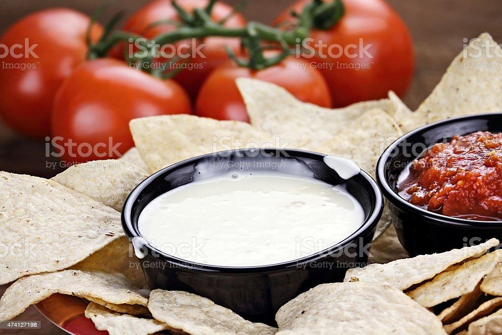 Queso Blanco White Cheese Sauce stock photo