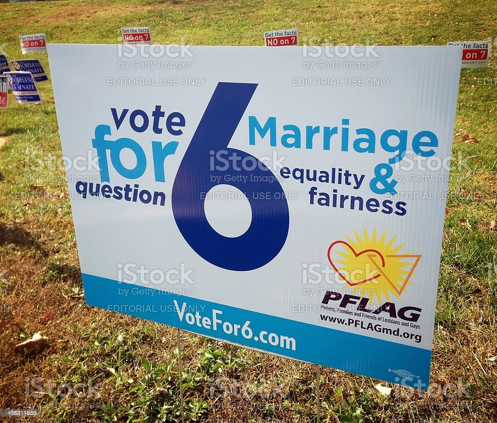 Question 6 for Gay Marriage in Maryland Sign stock photo