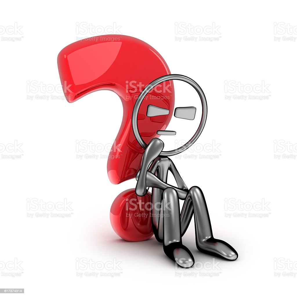 Question and abstract man stock photo
