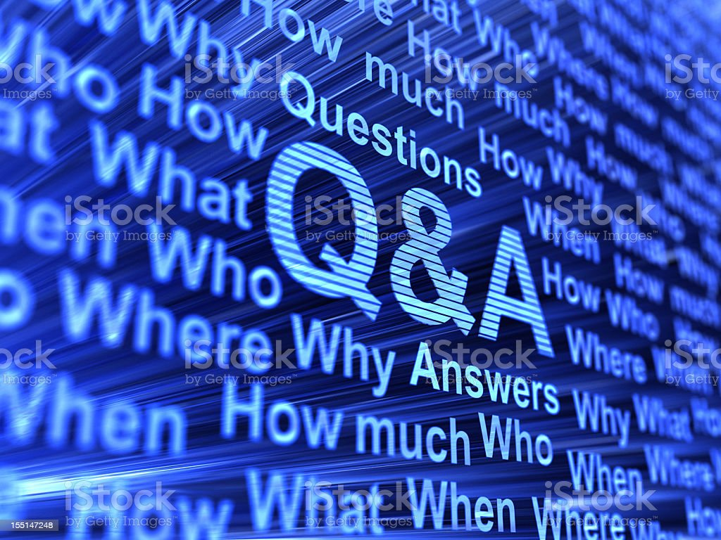 Question and Answer keywords on an abstract blue background royalty-free stock photo