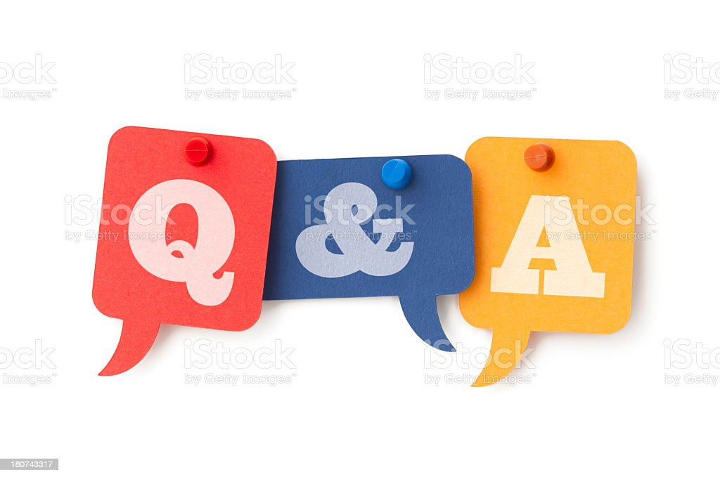 Question and Answers on speech bubbles stock photo