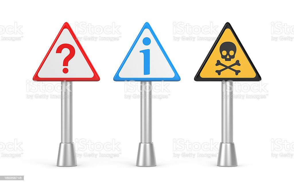 Question, danger and information sign royalty-free stock photo
