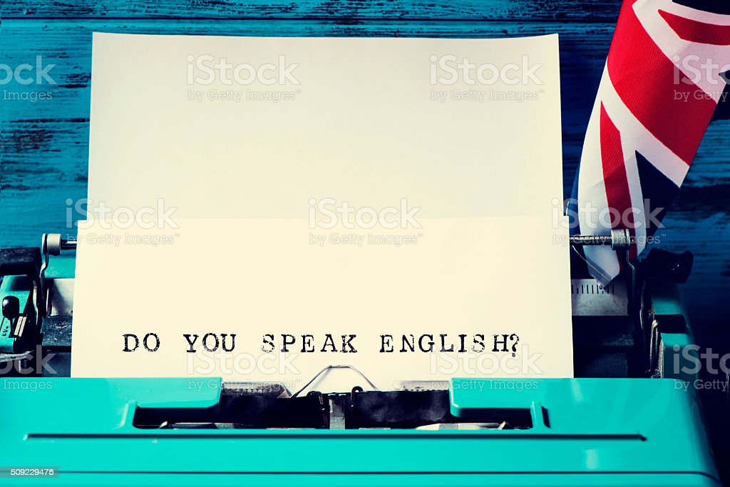 question do you speak english? written with a typewriter stock photo
