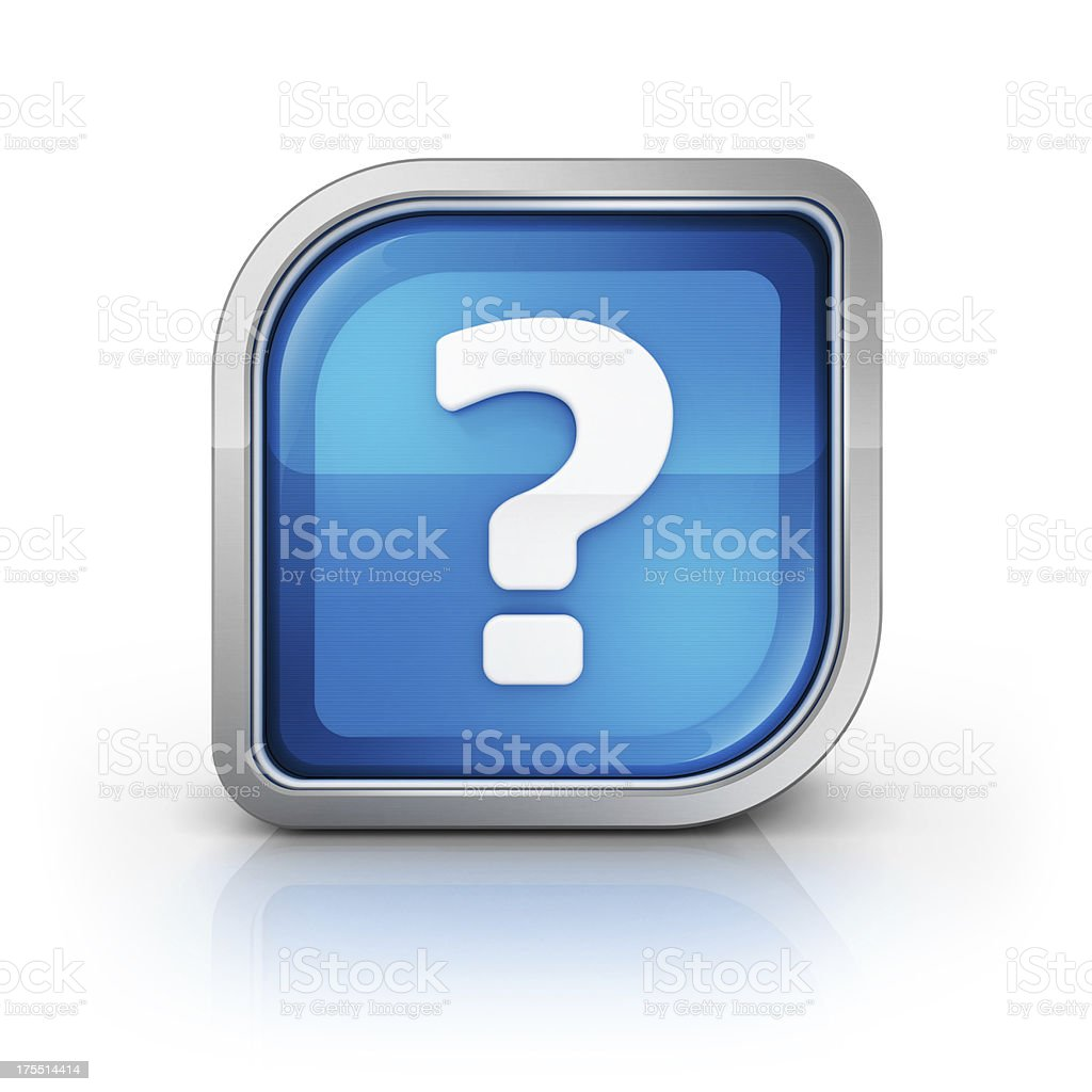 question mark 3d glossy icon stock photo