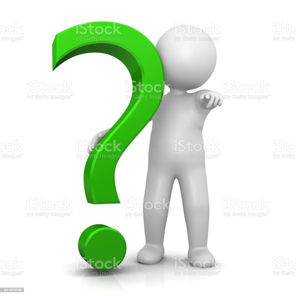 question mark 3d green interrogation point punctuation asking sign stick man pointing at you at camera isolated on white stock photo