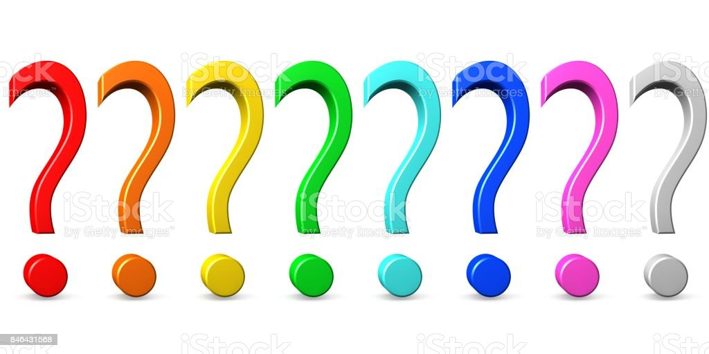 question mark 3d interrogation point punctuation mark asking sign query symbol red orange yellow green turquoise blue pink silver grey isolated on white stock photo