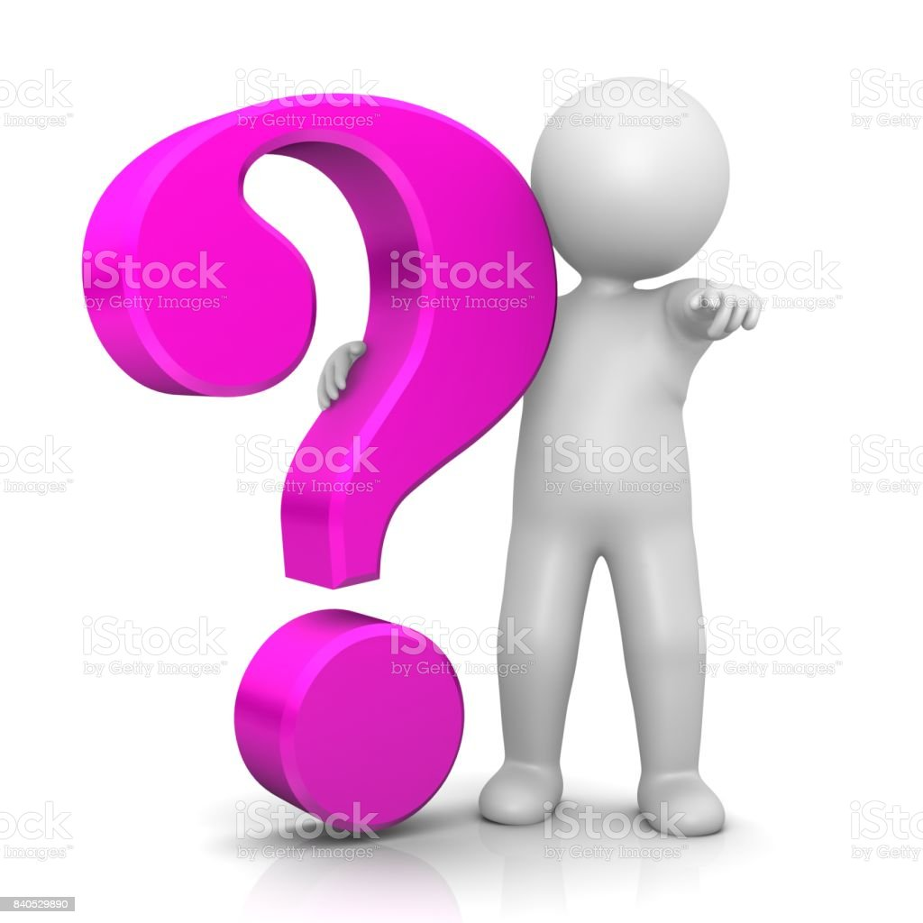 question mark 3d pink with stick man pointing at you or at camera isolated on white stock photo