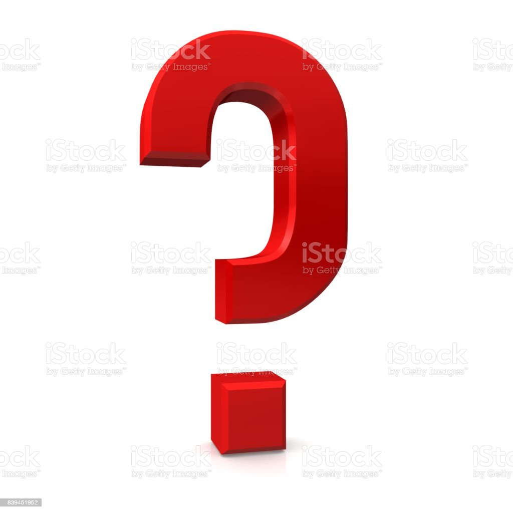 question mark 3d red interrogation point isolated stock photo