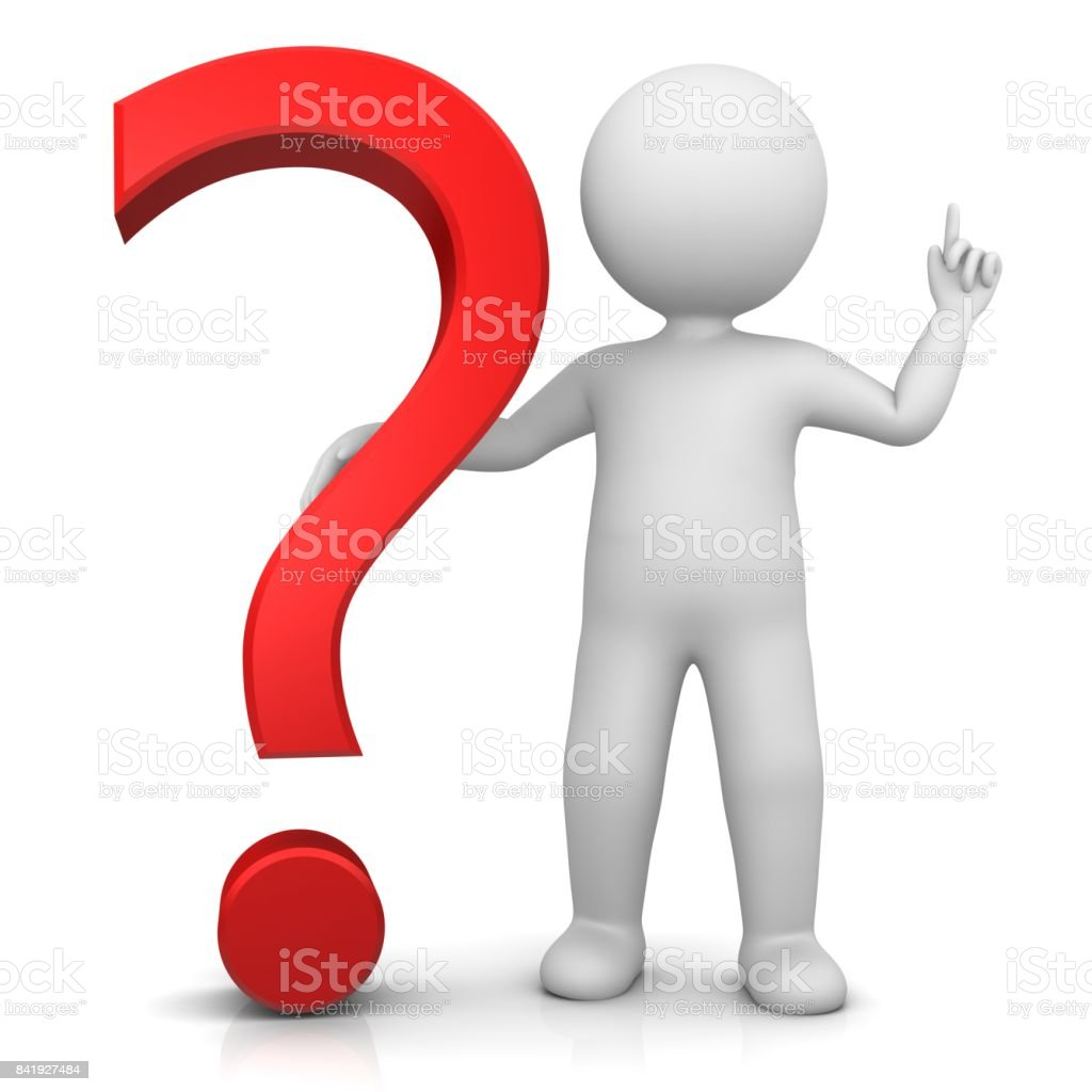 question mark 3d red stick man pointing up raising hand isolated on white stock photo
