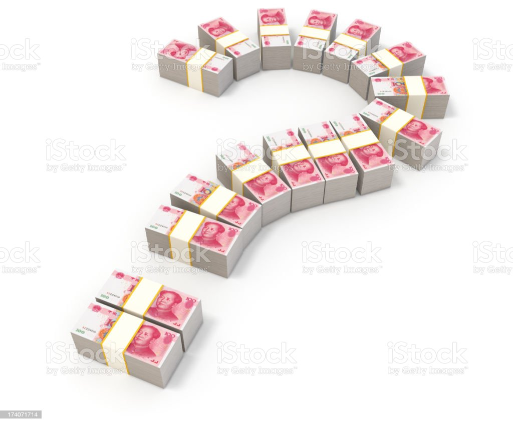 Question mark and money. Chinese Yuans. royalty-free stock photo