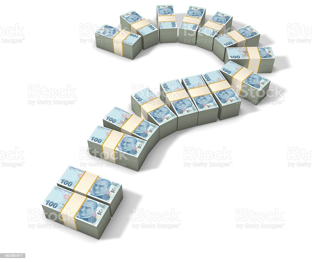 Question mark and money. Turkish Liras. royalty-free stock photo