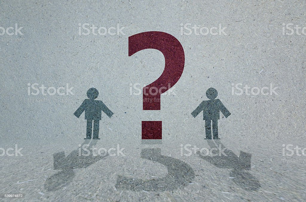 Question mark and people stock photo