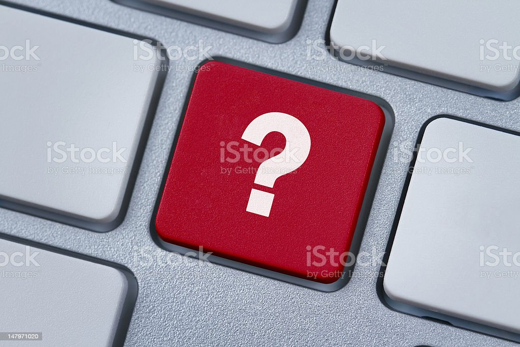 Question mark at the computer key royalty-free stock photo