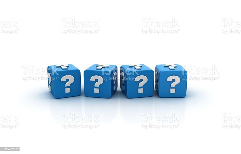 Question Mark Buzzword Cubes - 3D Rendering stock photo