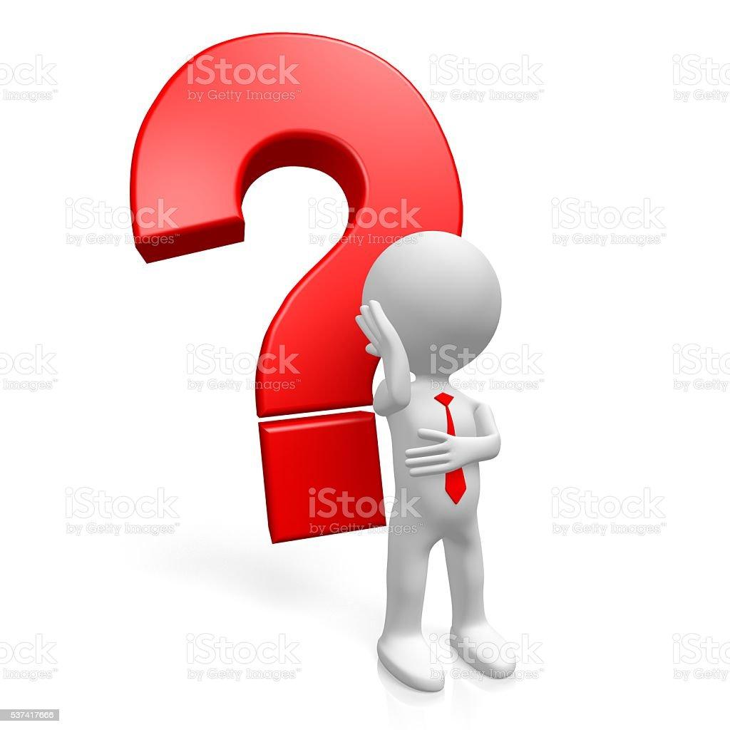 3D question mark concept stock photo