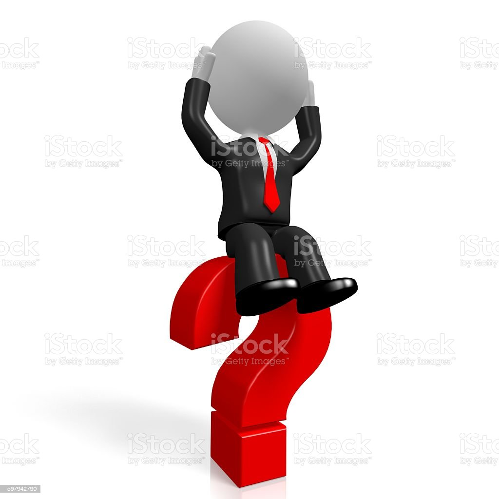 3D question mark concept stock photo