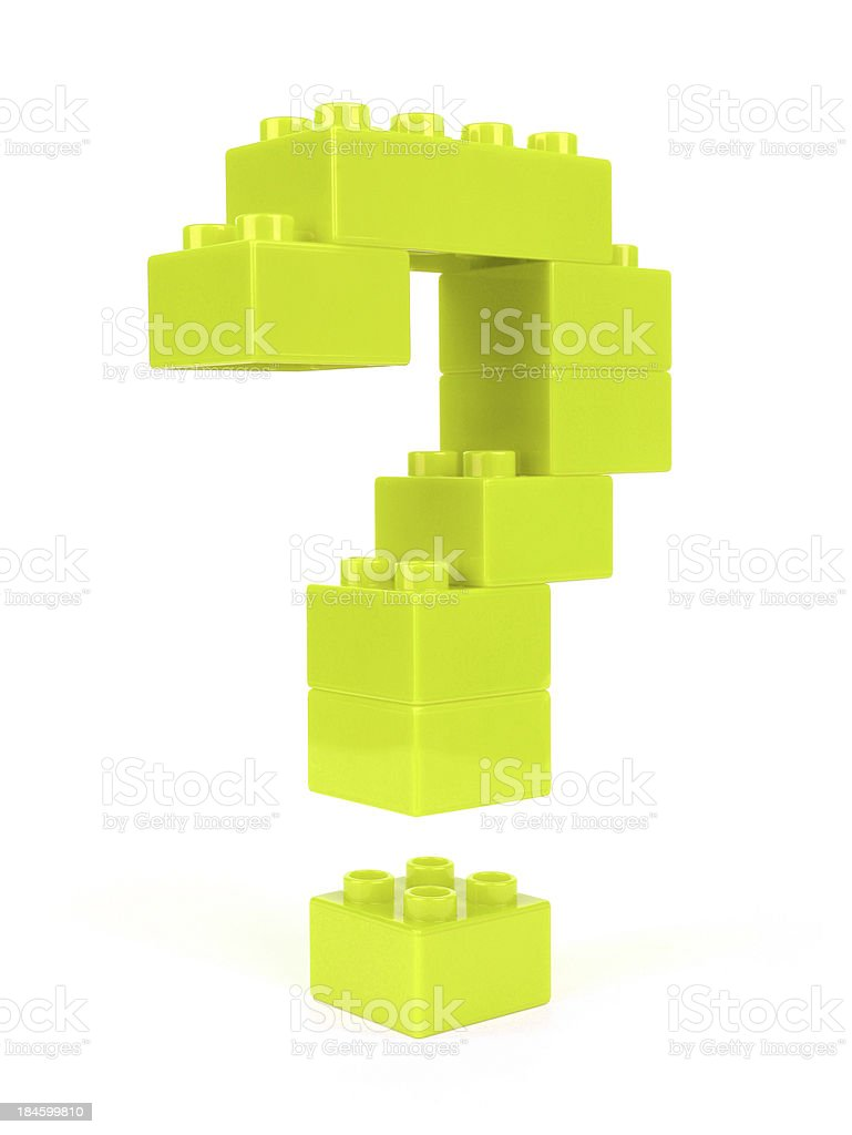 Question mark constructed of green plastic blocks stock photo