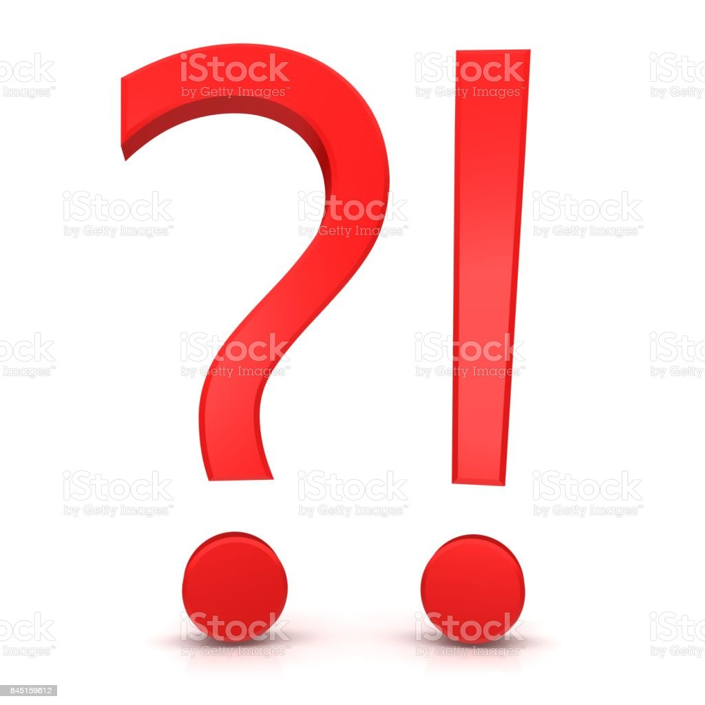 question mark exclamation mark exclamation point interrogation point punctuation mark red 3d symbol sign isolated on white stock photo