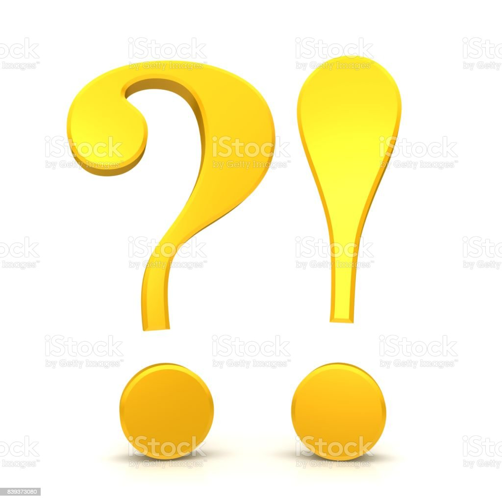question mark exclamation mark yellow gold 3d punctuation mark isolated on white stock photo