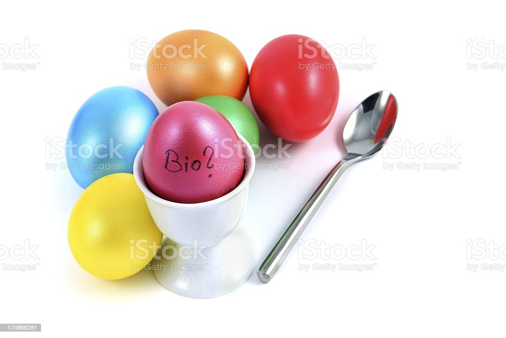question mark for how biological the easter eggs are stock photo