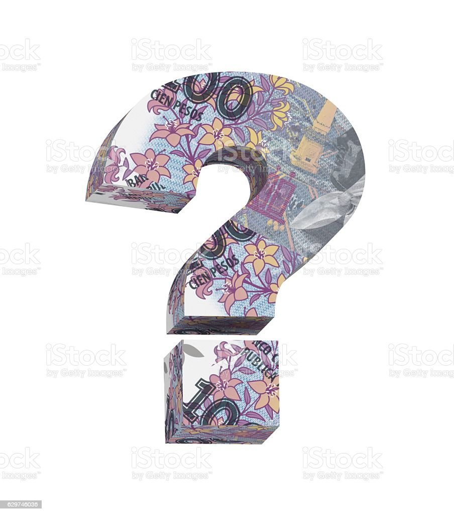 Question mark from Argentine peso bill isolated over white. stock photo